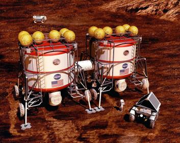 Utforsking av Mars med bemannede kjøretøy (Illustrasjon: NASA)
