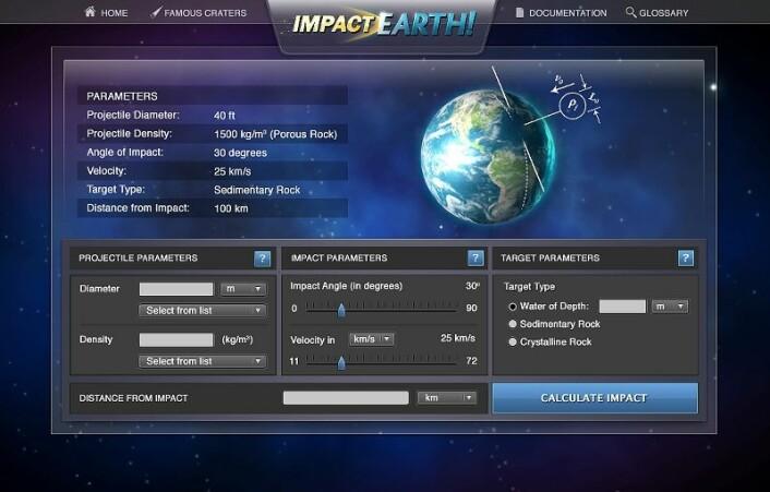 På nettsimulatoren kan du plotte inn astroidens egenskaper, før du sender deg mot planeten...(Kilde: Information Technology at Purdue image/Michele Run)