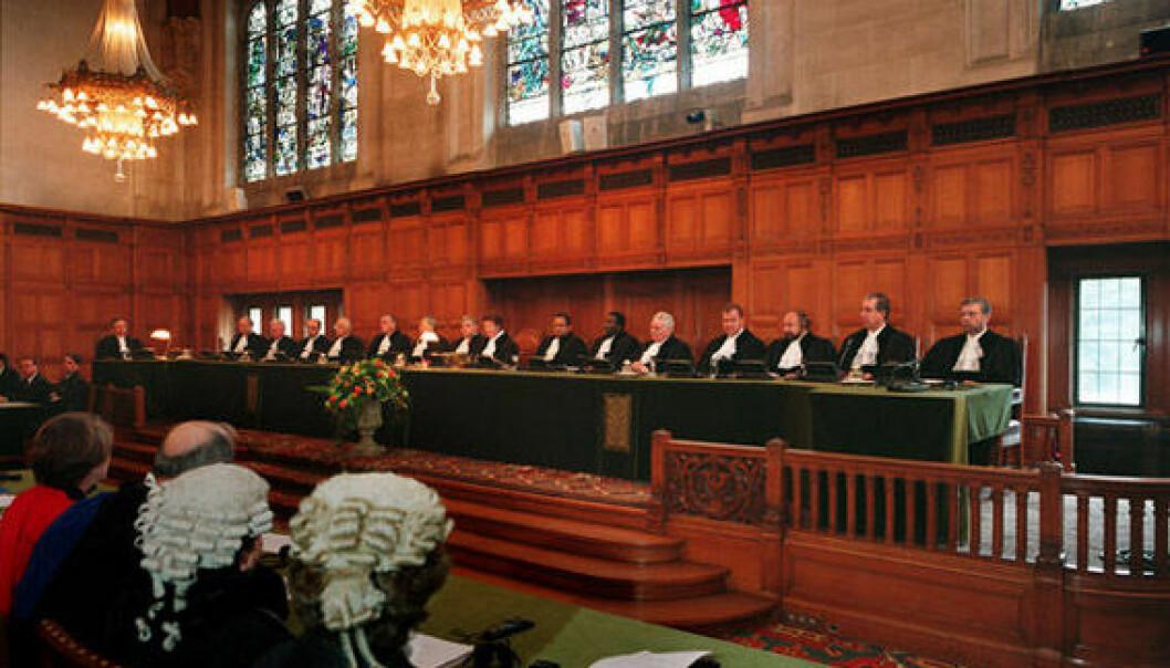 """""""Den internasjonale domstolein i Haag er en institusjon som skal forvalte rettferdighet. Illustrasjon."""""""