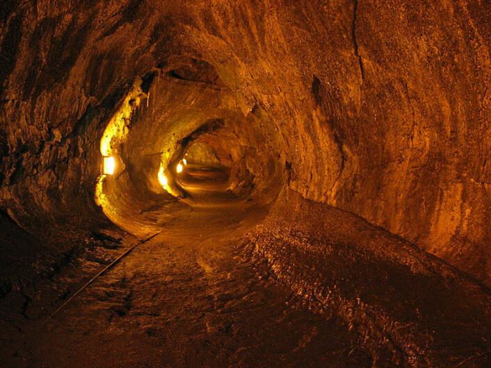 Hule i lavarør på Hawaii. Slike huler kan også finnes på Mars, og være naturlige tilfluktssteder for de første kolonistene.