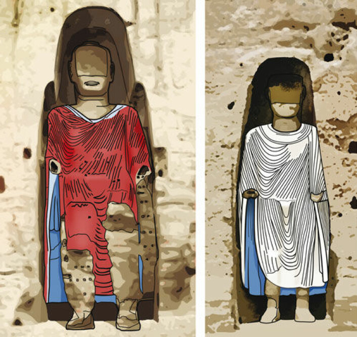 De ødelagte Buddha-statuene har opprinnelig hatt fargerik kledning da de ble laget for nesten 1500 år siden, mener forskere. Men fargene har blitt overmalt flere ganger. Slik så fargene ut omkring år 1000. (Illustrasjon: Arnold Metzinger/Technische Universitaet Muenchen)