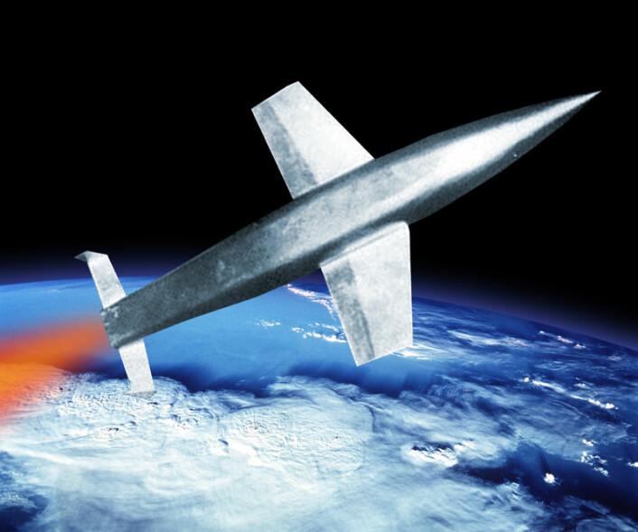 Slik ville kanskje tyskernes Silbervogel sett ut i verdensrommet, hvis det noensinne hadde kommet på vingene. Bildet er en montasje av en modell i en vindtunnel fra 1935 og et bilde av jorda tatt fra romferga STS 91. (Foto: United States Defence Visual Information Center/NASA)