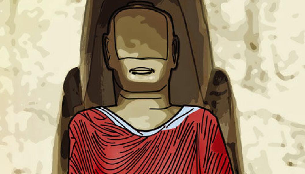 Buddha-statue i Bamian, Afghanistan, kan ha sett slik ut. (Illustrasjon: Arnold Metzinger/Technische Universitaet Muenchen)