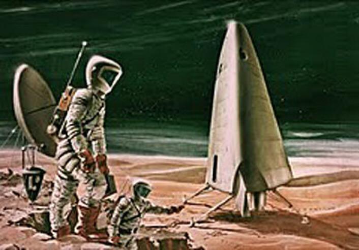 Konseptskisse av bemannet marsferd fra 1963 (Illustrasjon: NASA)