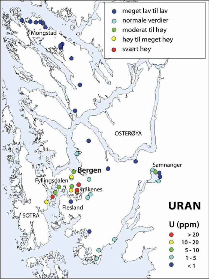 URAN: Her er kartet over punktmålingene. De viser store variasjoner i naturlig urankonsentrasjon i berggrunnen fra meget lav til svært høy. Illustrasjon: Christophe Pascal/NGU