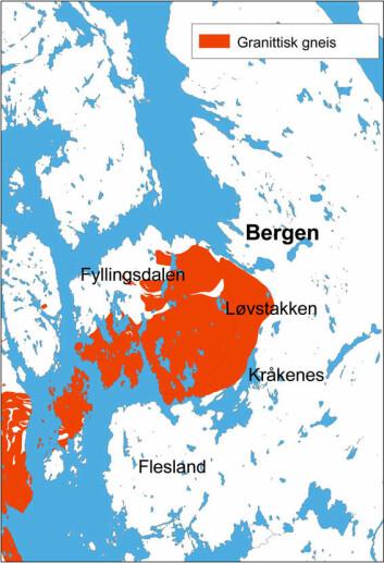 GRANITT: Her er kart over den såkalte Løvstakken-granitten, som inneholder til dels høye konsentrasjoiner av naturlig radioaktivitet. Illustrasjon: Ole Lutro/NGU (Referanse til originalkartet: Fossen, H. & Ragnhildstveit, J. 2008: Berggrunnskart BERGEN 1115 I, M 1:50.000. Norges geologiske undersøkelse)