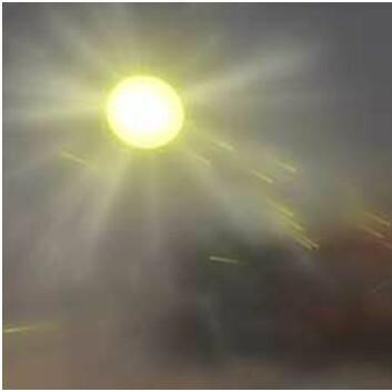 Aerosoler kan påvirke klimaet direkte ved å enten reflektere eller absorbere solas stråling. De små luftbårne partiklene slippes ut i atmosfæren fra mange kilder, som for eksempel industriell forurensing, vulkaner eller ovner. (Illustrasjon: NASA Goddard's Scientific Visualization Studio)