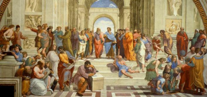 Det er en myte at det går en direkte linje til demokratiet vårt fra antikkens athenske borgeres demokratiske møter på byens torg. (Maleri: Rafael Sanzio)