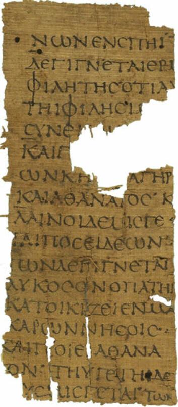 Den greske historikeren Hellanikos fra Lesbos som ble født ca. 70 år før Platon (omkring år 500 f.Kr.), skrev en tekst som het «Atlantis». Et bruddstykke av skriften eksisterer fremdeles, men det handler etter all sannsynlighet om datteren til Atlas. (Foto: Public domain)