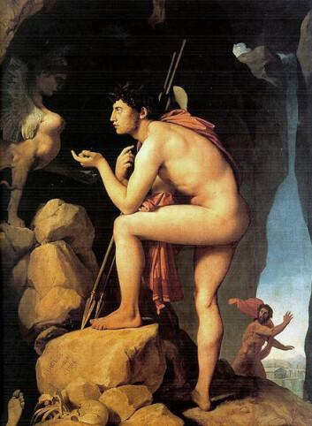 Den greske mytologiske kongen Ødipus drepte sin far og giftet seg, uvitende, med sin mor og fikk barn med henne. Sigmund Freud brukte historien om Ødipus for å illustrere sønners erotiske lengsler etter mor. Maleriet Ødipus og Sfinxen er malt av Jean Auguste Dominique Ingres i 1808.