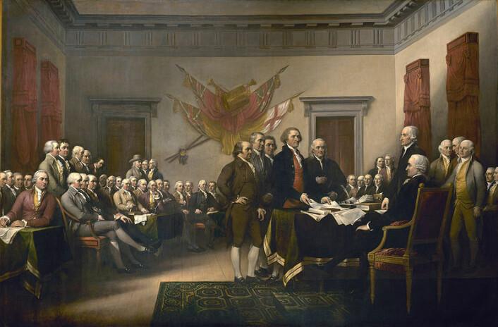 1700-tallets revolusjoner i Nord-Amerika og Frankrike var inspirert av demokratiet i Roma. (Maleri: John Trumbull)