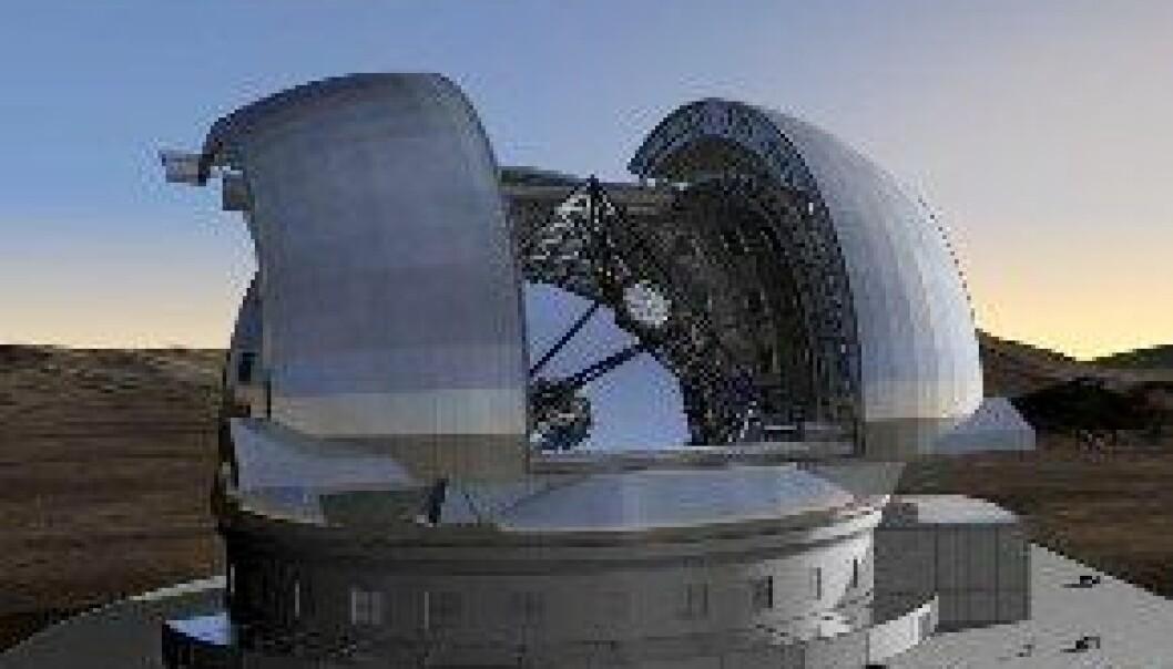 En modell av ESOs planlagte kjempeteleskop, European Extremely Large Telescope. (Illustrasjon: ESO)