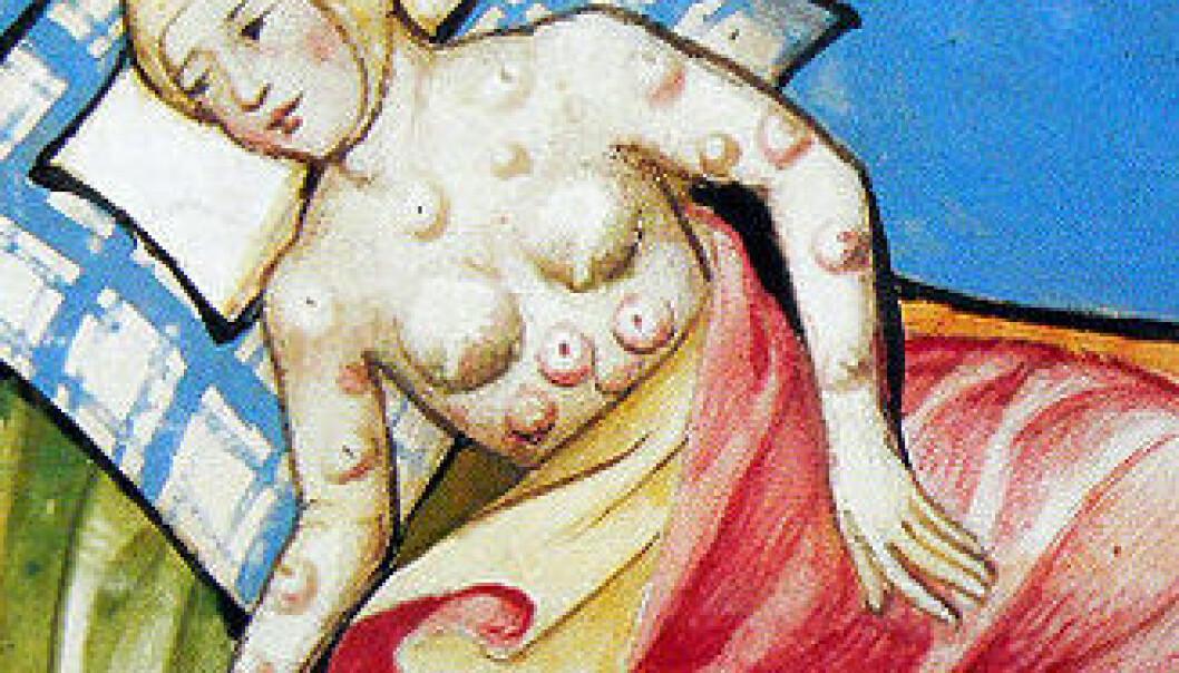 Miniatyr fra Toggenburg-Bibelen fra 1411. Bildet er antageligvis en beskrivelse av byllepest. (Kilde: Wikimedia Commons)