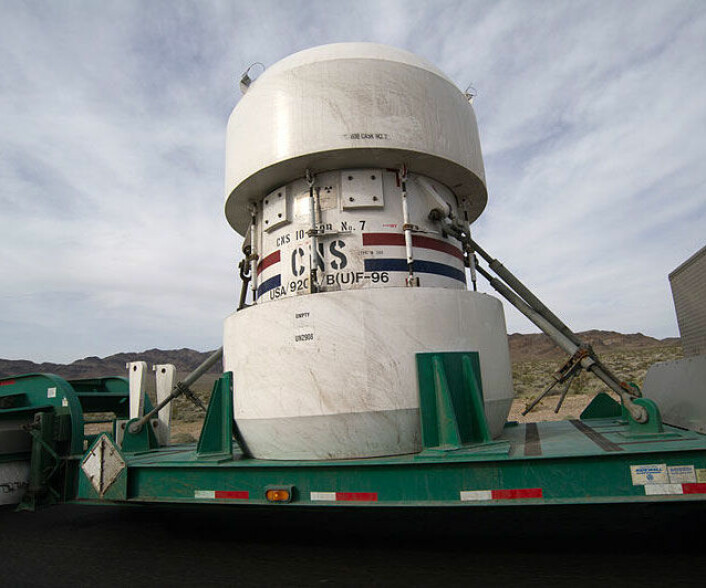 Beholder med atomavfall fra testområde i Nevada, USA. (Foto: Bill Ebbesen, Creative Commons, se lisens)