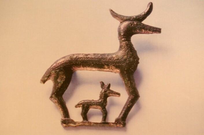 Hjortebrosjen ble funnet i en 1600 år gammel kvinnegrav på Jæren. (Foto: Grete Lillehammer)