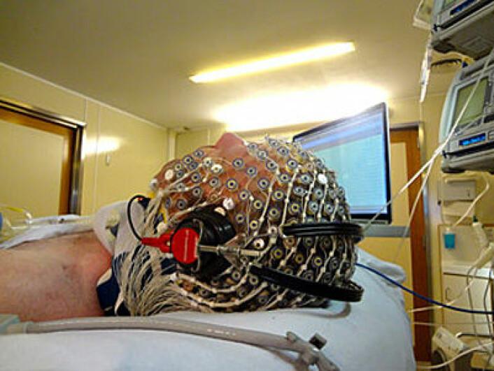 Forskerne kartla forsøkspersonenes hjerneaktivitet via et omfattende nettverk av elektroder. (Foto: Université de Liège)