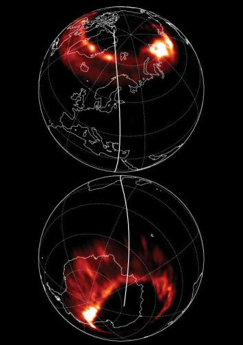 Asymmetrisk nord -og sørlys, 12. mai klokka 21.45 universaltid. (Ill: Laundal & Østgaard, Universitetet i bergen)