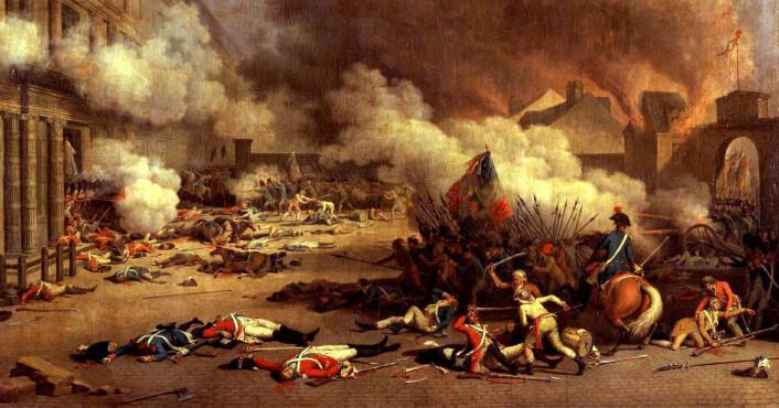 Franskmennene har en svært lang tradisjon for å demonstrere. Et stivt politisk system bidrar til å holde demonstrasjonsgløden i live. (Maleri: Jean Duplessis-Bertaux)