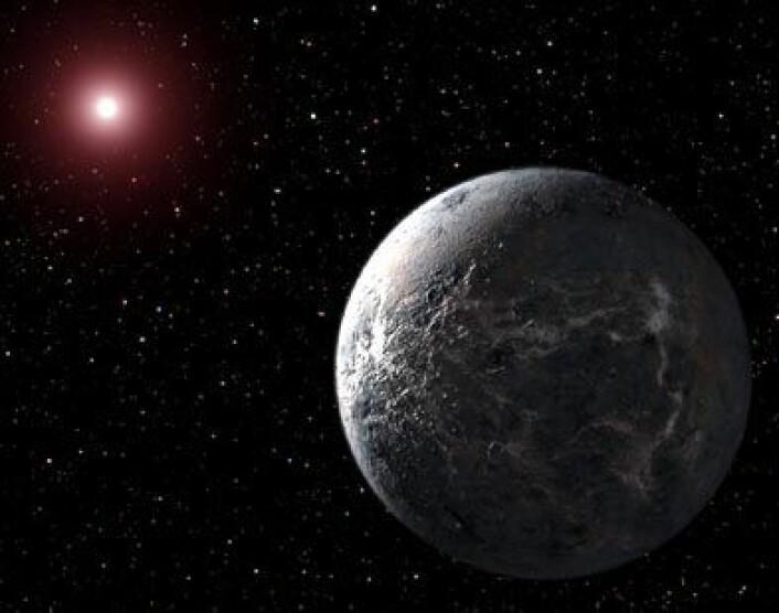 Eksoplaneten OGLE-2005-BLG-390Lb er en av de mest jordlignende planetene som er oppdaget så langt. (Illustrasjon: NASA)