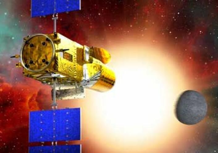 Den europeiske romorganisasjonen ESAs planetteleskop COROT. (llustrasjon: ESA)