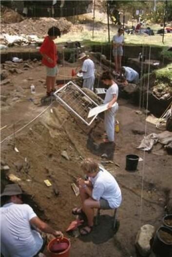 """""""Utgravningene av den gamle boplassen. (Foto: Hebrew University of Jerusalem)"""""""