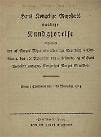 Norges gunnlov per 1814.