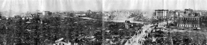 Ødeleggelser etter jordskjelv og påfølgende branner i Tokyo 1. september 1923. (Foto: Osaka Mainichi Newspaper/Wikipedia Commons)