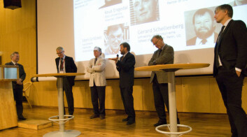 F.v: Ole Petter Ottersen, Knut Engedal, Peter Agre, Gerard Schellenberg, Sten Grillner og Ola Elvestuen (Foto: Hanne Jakobsen)