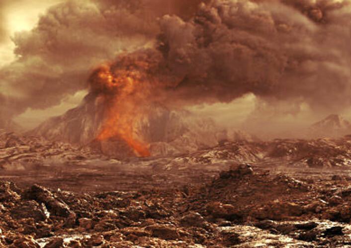 Kanskje er vulkansk aktivitet og kontinentaldrift viktig for at liv skal utvikle seg. (Illustrasjon: ESA)