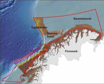 MAREANO- kartleggingen på Eggakanten foregår både på kontinetalsokkelen (dypere enn 450 m) og de grunnere områdene øst for sokkelkanten. Dybdedata i dette oversiktskartet vises fra brunt (grunt) til fiolett (dypt)