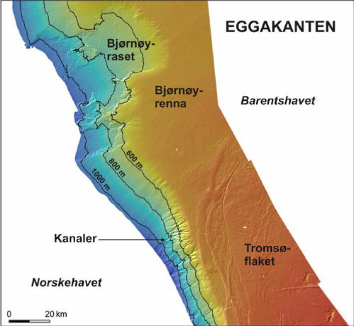 Lengst nord i kartleggingsområdet er Bjørnøyraset. Sør for det ligger et område med kanaler som trolig ble dannet av smeltevann fra isen som lå på Tromsøflaket. Brevannet strømmet fram under isen og ned skråninga mot dyphavet. De mest markerte er merket med pil.