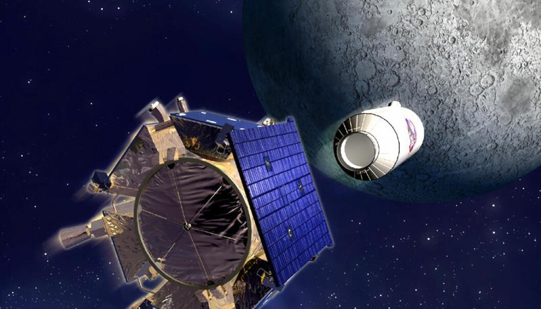 LCROSS-sonden og Centaur, øverste trinn på Atlas V-raketten, på vei mot krasj mot Cabeus-kratereret på månens sydpol 9. oktober 2009. (Illustrasjon: NASA)
