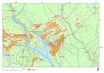 Kartet viser soner med bergarten alunskifer. Der det finnes alunskifer foreslår Strålevernet at kommunene vurderer hensynssoner. Dette kartutsnittet er hentet fra deler av Hedmark og Oppland. (Kart: NGU)
