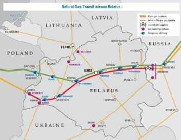 Transittruter for gasstransport gjennom Hviterussland