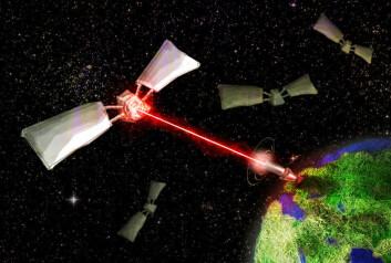 Laser stasjonert på jorda skyter romsøppel (Illustrasjon: Per Byhring/forskning.no)