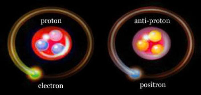 Et antihydrogenatom har samme masse som et vanlig hydrogenatom, men bestanddelene, antiprotoner og positroner, har motsatt ladning (Illustrasjon: Cern)