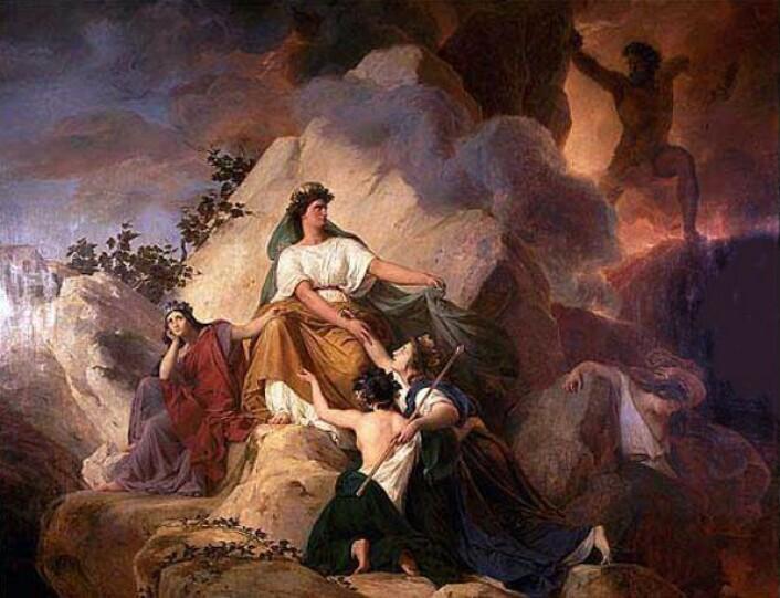 Kybele var en mektig beskytter av byer og individer. På dette bildet fra 1832 beskytter hun byene Stabiae, Herculaenum, Pompeii og Resina mot vulkanen Vesuv. (Maleri: François-Édouard Picot)