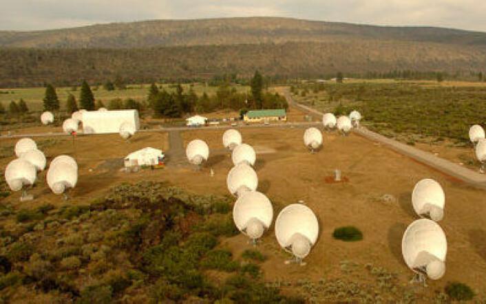 Allen Telescope Array nord i California er i pengetrøbbel. (Foto: ATA)