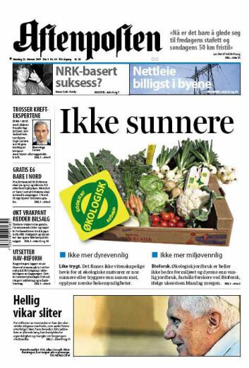 """""""Aftenpostens forside Mandag 23. februar."""""""