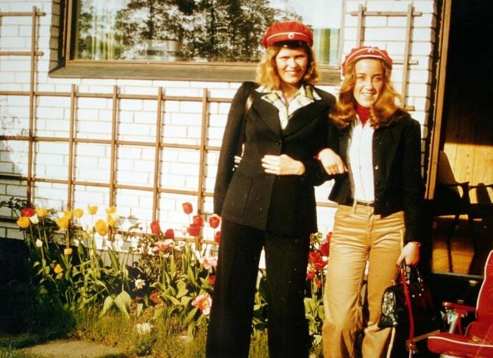 """""""Russejenter fra språklinjen på Foss gymnas i Oslo -17.mai 1975 (Foto: Kåre Holm)"""""""