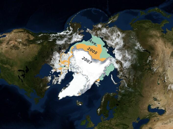 """""""Illustrasjonen viser hvor lite is det var i Arktis i september 2007 sammenlignet med samme måned i 2005 og gjennomsnittet alle år fra 1979 til i dag. (Illustrasjon: NASA)"""""""