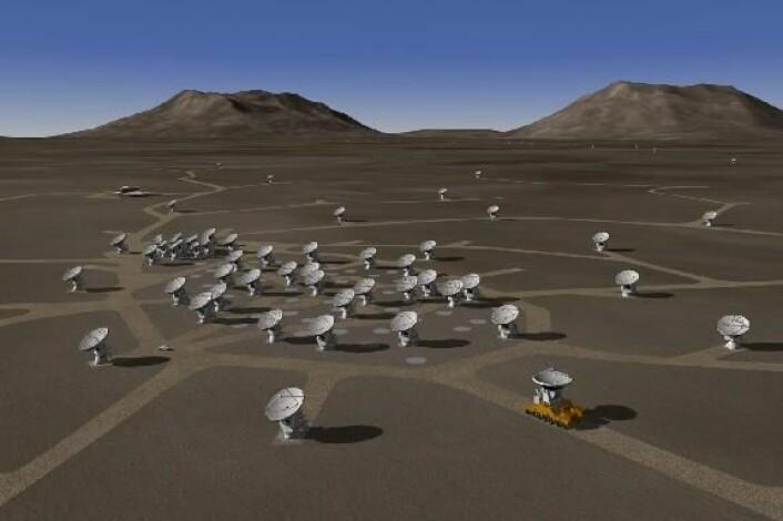 En illustrasjon av hvordan ALMA kommer til å se ut når anlegget er ferdig. (Illustrasjon: ALMA/ESO/NRAO/NAOJ)
