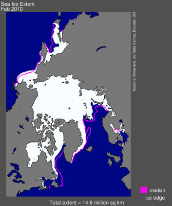 """""""Her er en illustrasjon av issituasjonen i Arktis i februar i år. Den rosa linjen viser gjennomsnittsutbredelsen. (Illustrasjon: NSIDC)"""""""