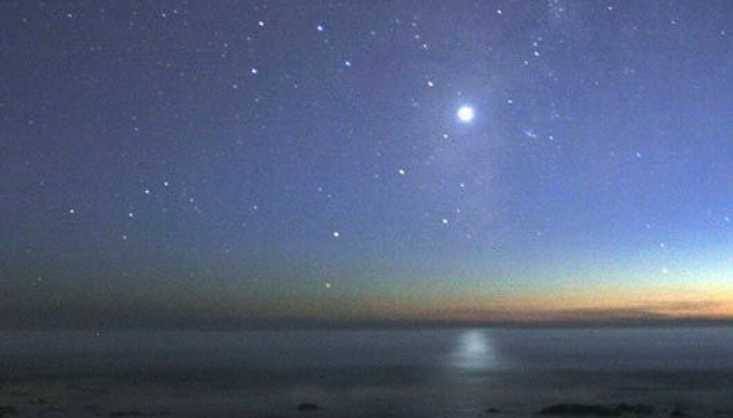 Venus går ned over Stillehavet (Foto: Mila Zinkova, Creative Commons, se lisens)