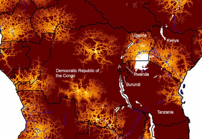 HIV spredde seg raskt med en gang viruset nådde fra relativt isolerte byer i Kongo til tett sammenknyttede byer i Øst-Afrika, viser en ny studie basert på molekylærbiologi og geografi. Illustrasjonen viser nærhet til byer med minst en halv million innbyggere i deler av Afrika. Gult indikerer kort reisetid til storby, rødt viser lang reisetid. (Illustrasjon: Andrew J. Tatem/University of Florida)