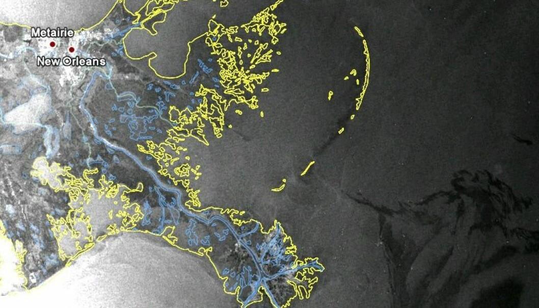 Envisats radarbilde av oljekatastrofen, tatt 2. mai kl. 05:45 (Foto: ESA)