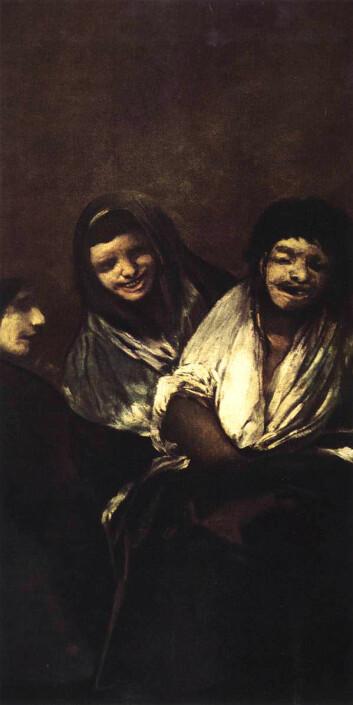 Død er sjelden det første man forbinder med latter. Men kanskje var det slike ting Fransisco de Goya hadde i tankene da han malte Mujeres riendo (Leende kvinner). (Kilde: Wikimedia Commons)