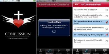 """Skjermbilder fra iPhone-programme """"Confession: A Roman Catholic App"""" (Illustrasjon fra journalistens telefon)"""