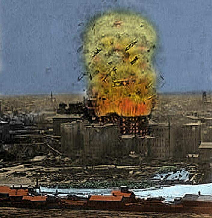 Også melstøv kan være eksplosivt: Denne illustrasjonen fra 1878 viserillustratørens inntrykk av den store møllekatastrofen ved Washburn Mill i Minneapolis, Minnesota. 14 arbeidere døde, samt fire i tilliggende lokaler. (Illustrasjon: US Library of Congress. Håndkolorert av forskning.no)