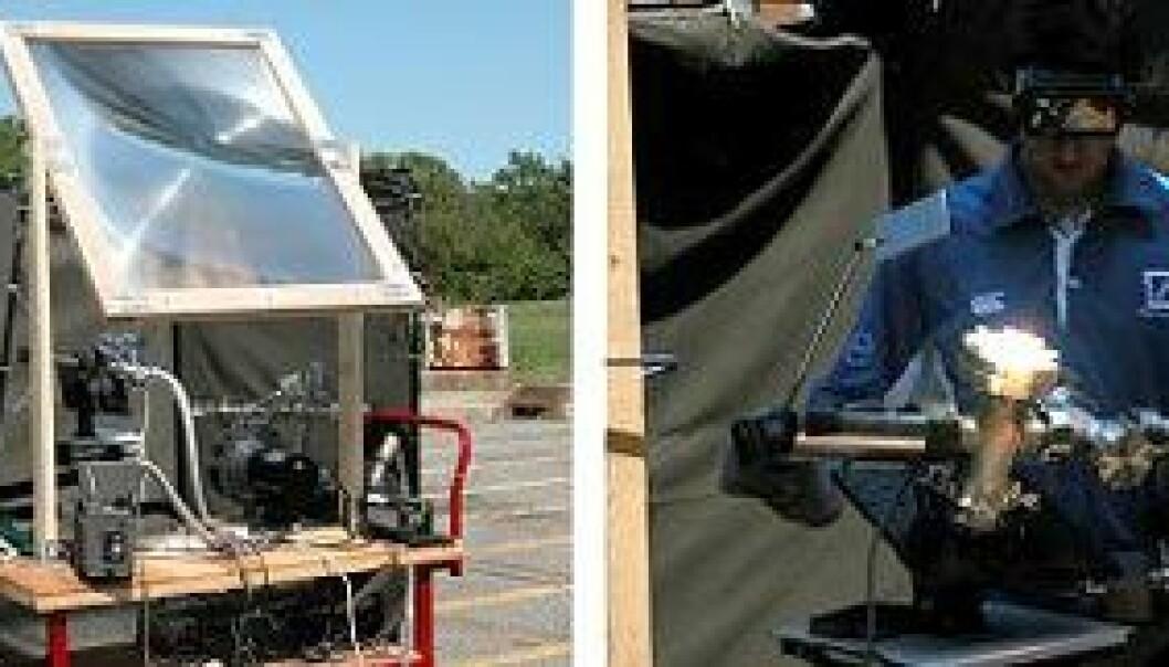 """""""Sollys samles med en linse og brukes til å varme opp stein som ligner på månestein. Foto:NASA"""""""